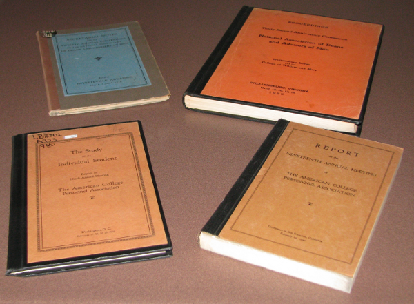 Covers from old ACPA and NASPA conference proceedings. From upper-left, clockwise: NASPA 1930, NASPA 1950, ACPA 1942, ACPA 1932